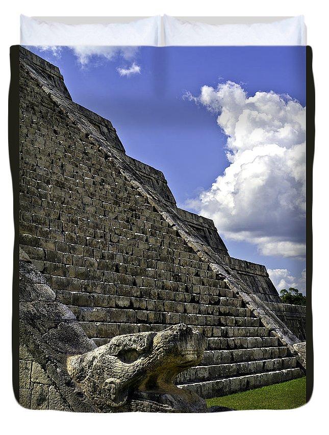 Chichen Itza Duvet Cover featuring the photograph Kukulkan by Ken Frischkorn