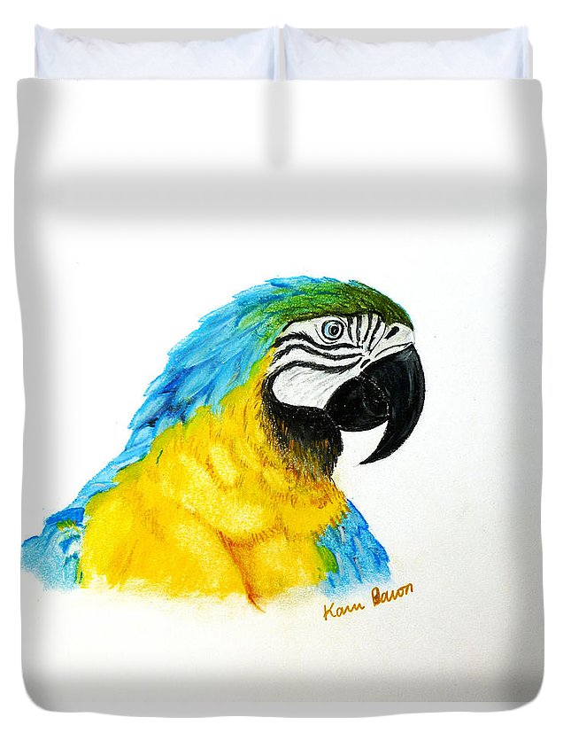Macaw Duvet Cover featuring the pastel La La by Karin Dawn Kelshall- Best