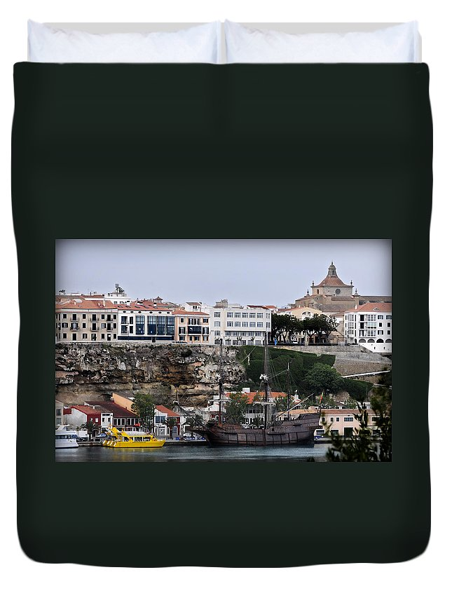 Sea Duvet Cover featuring the photograph A Galleon At Bottom Of Port Mahon Menorca One Of The Largest Natural Harbours In The World by Pedro Cardona Llambias