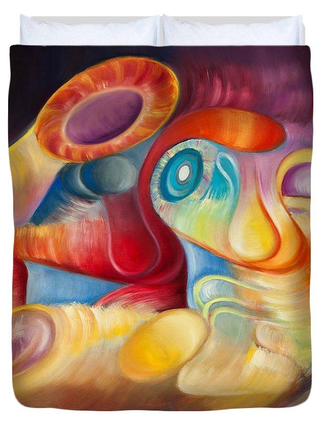 Evolution Duvet Cover featuring the painting La Rebelion De Los Elementos by Aliosha Valle