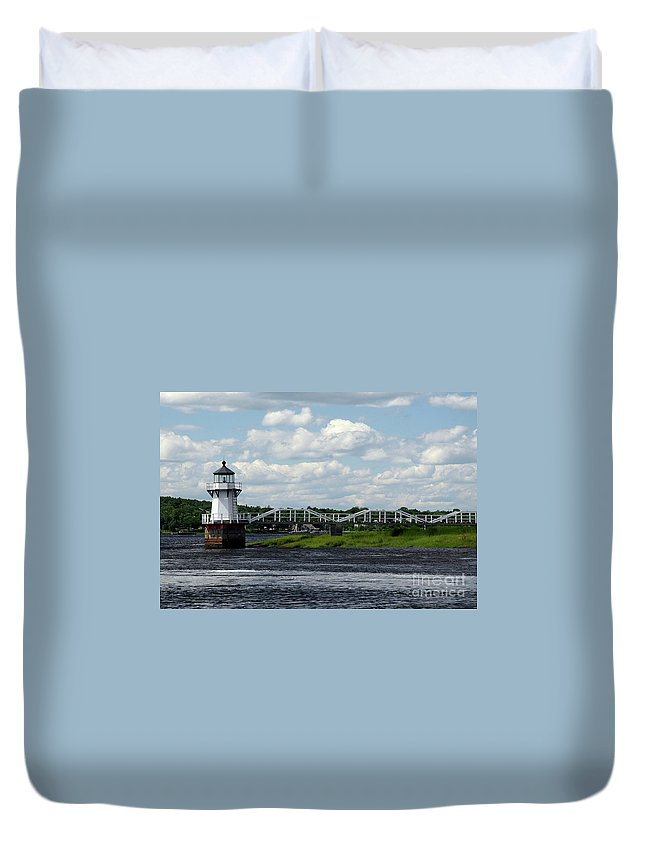 Doubling Point Light Duvet Cover featuring the photograph Lace Lighthouse by Brenda Giasson