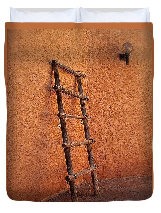 2012 Duvet Cover featuring the photograph Ladder Against Adobe Wall by Matt Suess