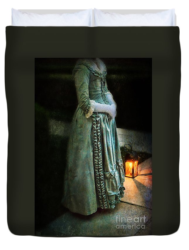 Lady Duvet Cover featuring the photograph Lady By Lantern Light by Jill Battaglia