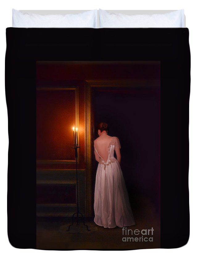 Beautiful Duvet Cover featuring the photograph Lady In Candle Light by Jill Battaglia