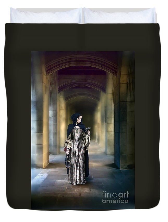 Lady Duvet Cover featuring the photograph Lady With Bird by Jill Battaglia