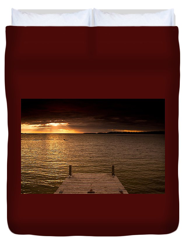 Dock Duvet Cover featuring the photograph Lake Huron Dock by Cale Best