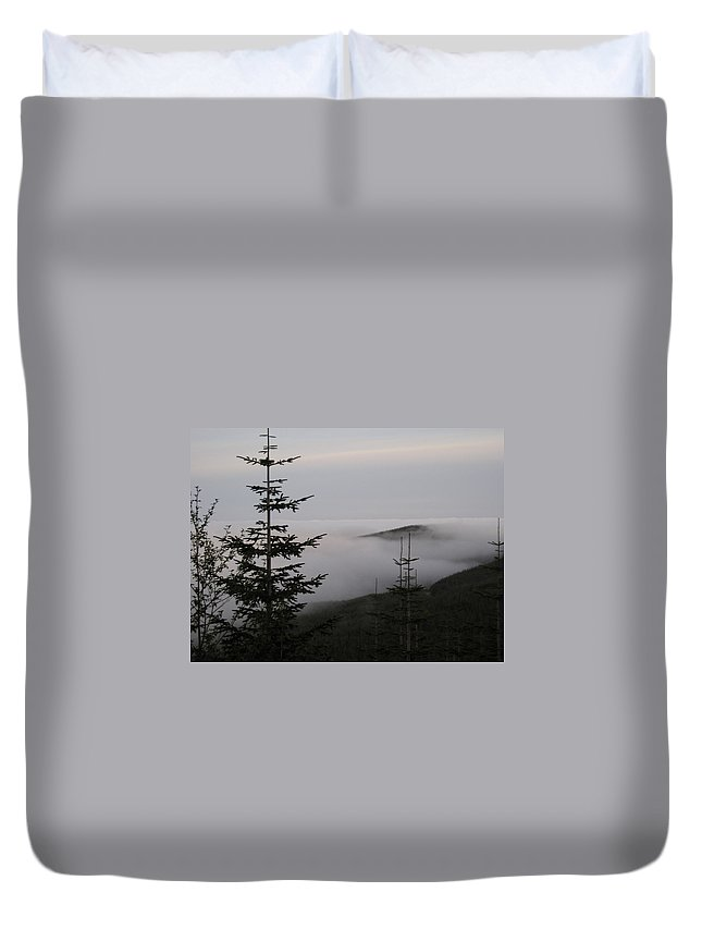 Fog Duvet Cover featuring the photograph Lake Of Low Clouds by Catherine Helmick