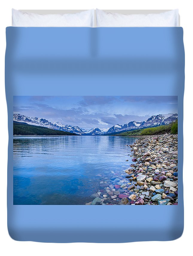 Glacier National Park Duvet Cover featuring the photograph Lake Sherburne Shoreline by Greg Nyquist