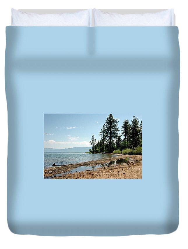 Usa Duvet Cover featuring the photograph Lake Tahoe Beach by LeeAnn McLaneGoetz McLaneGoetzStudioLLCcom