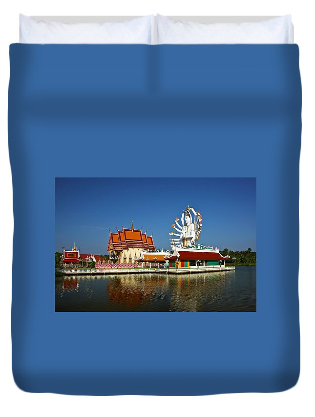 Buddha Duvet Cover featuring the photograph Lake Temple by Adrian Evans