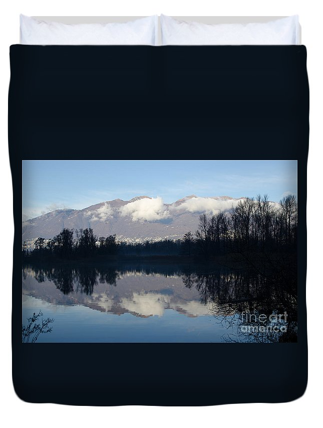 Lake Duvet Cover featuring the photograph Lake With Mountain by Mats Silvan
