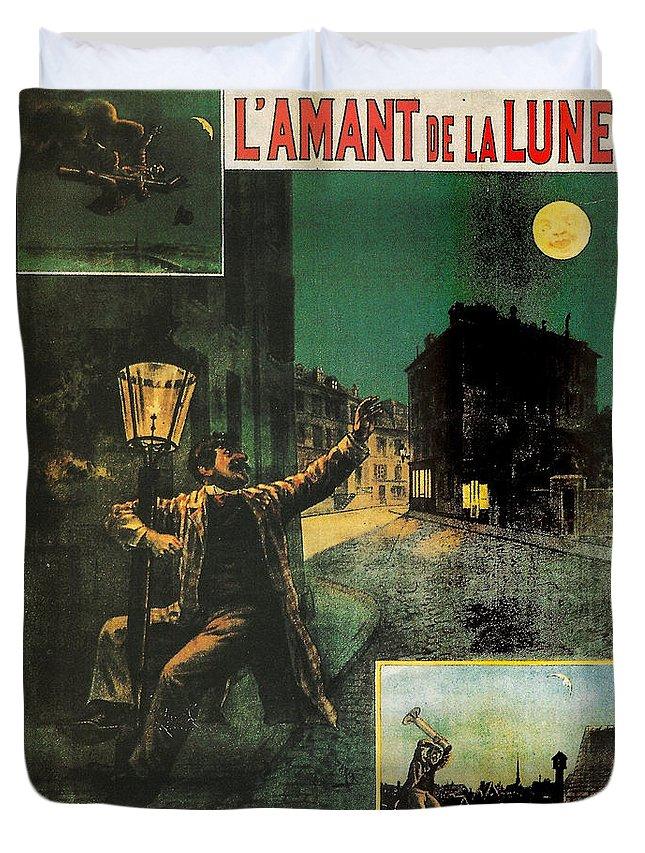 L'amant De La Lune Duvet Cover featuring the painting L'amant De La Lune by Georgia Fowler