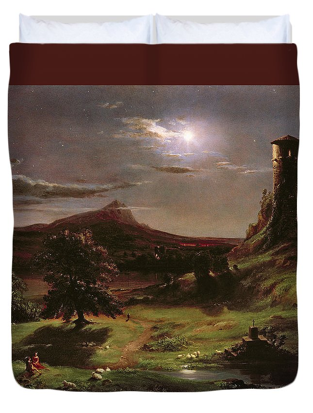 Ruin; Ruins; Round Tower; Night; Evening; Dark; Valley; Sheep; River; Medieval; Wooing; Lovers; Serenading; Serenade; Hudson River School; Romantic; Rustic; Nocturne; River; Moon; Burial Site; Memorial; Cross; Duvet Cover featuring the painting Landscape - Moonlight by Thomas Cole