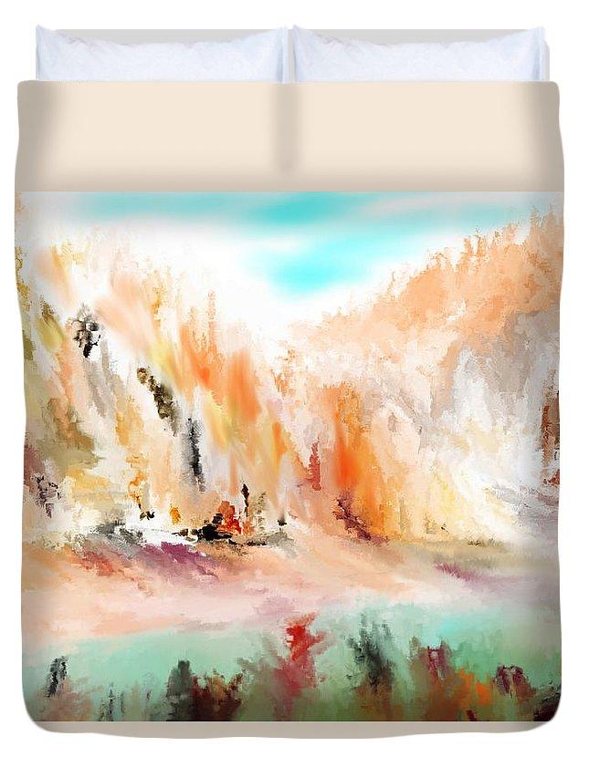 Fine Art Duvet Cover featuring the digital art Landscape 111511 by David Lane