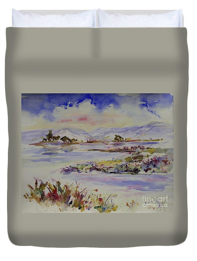 Impression Duvet Cover featuring the painting Landscape 5 by Xueling Zou