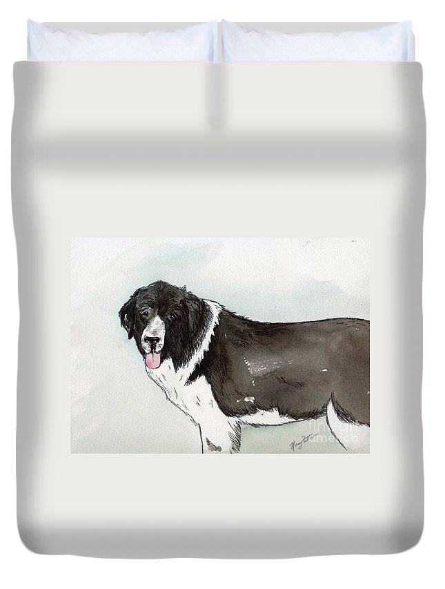 Newfoundland Dog Duvet Cover featuring the painting Landseer Newfoundland by Nancy Patterson