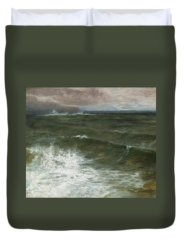 Seascape Duvet Cover featuring the painting Lannacombe Bay by GV Cole