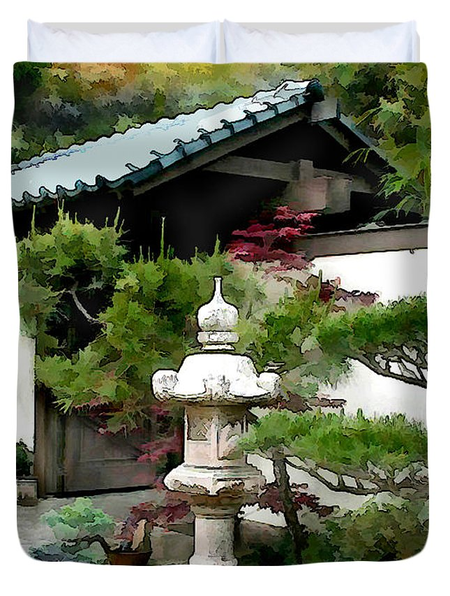Japanese Garden Duvet Cover featuring the painting Lantern Sentry At Garden Gate by Elaine Plesser