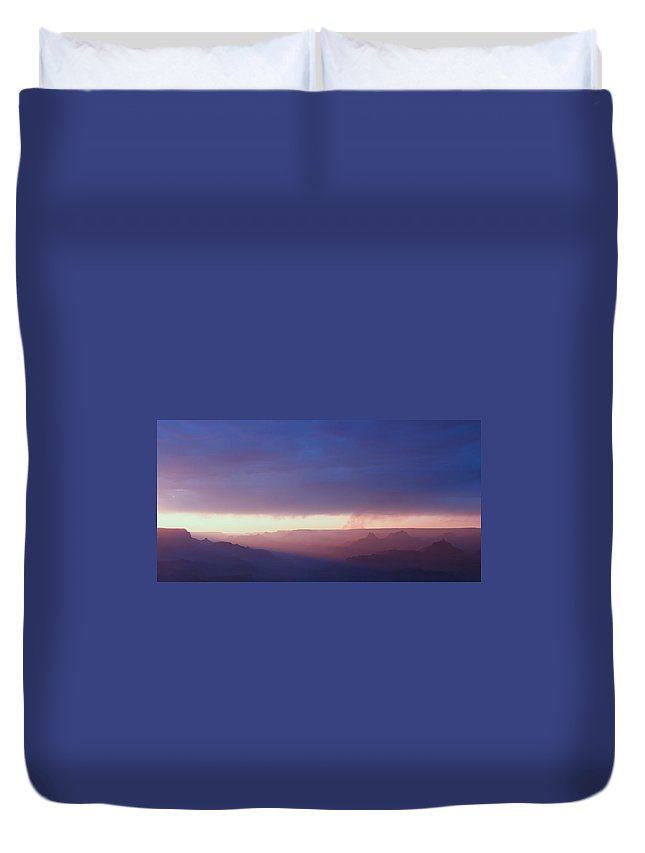 Purple Duvet Cover featuring the photograph Last Light Of Day by Heidi Smith