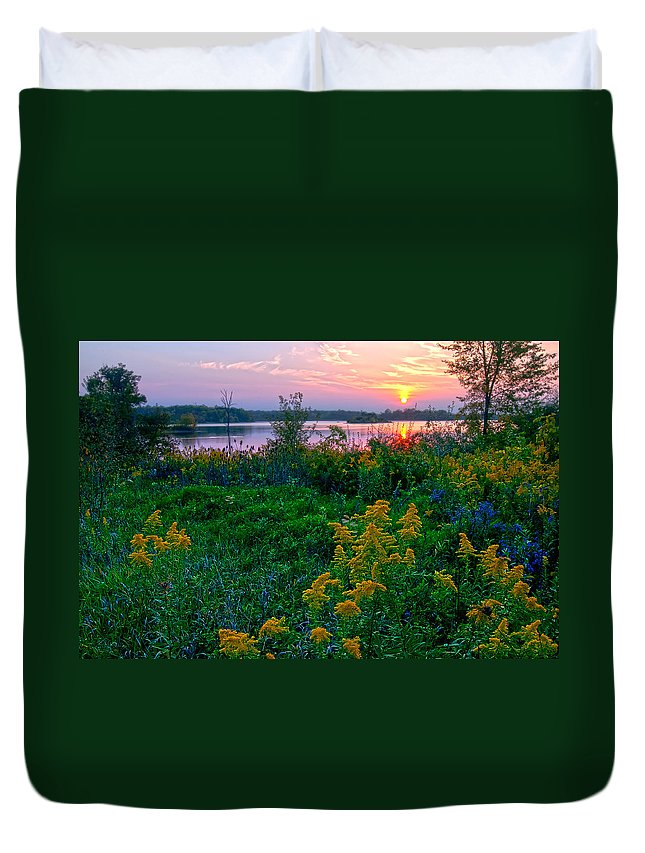 Late Summer Lake Duvet Cover featuring the photograph Late Summer Lake by Randall Branham