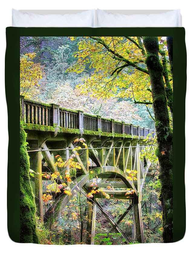 Autumn Color Duvet Cover featuring the photograph Latourel Creek Bridge by Albert Seger