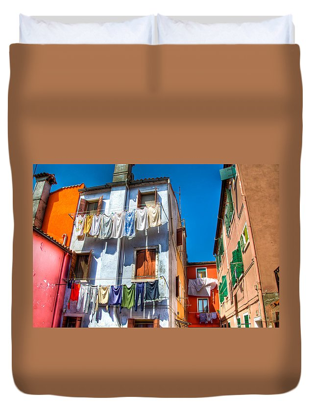 Burano Italy Duvet Cover featuring the photograph Laundry Day by Jon Berghoff