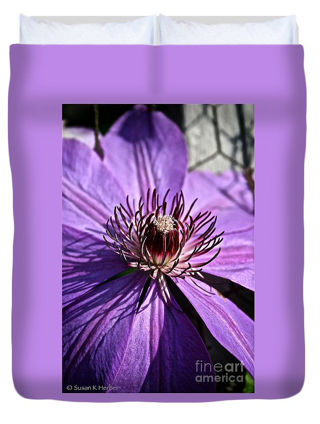 Plant Duvet Cover featuring the photograph Lavender Clematis by Susan Herber