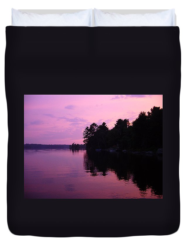 Sunset Duvet Cover featuring the photograph Lavender Lake by Shirley Radebach