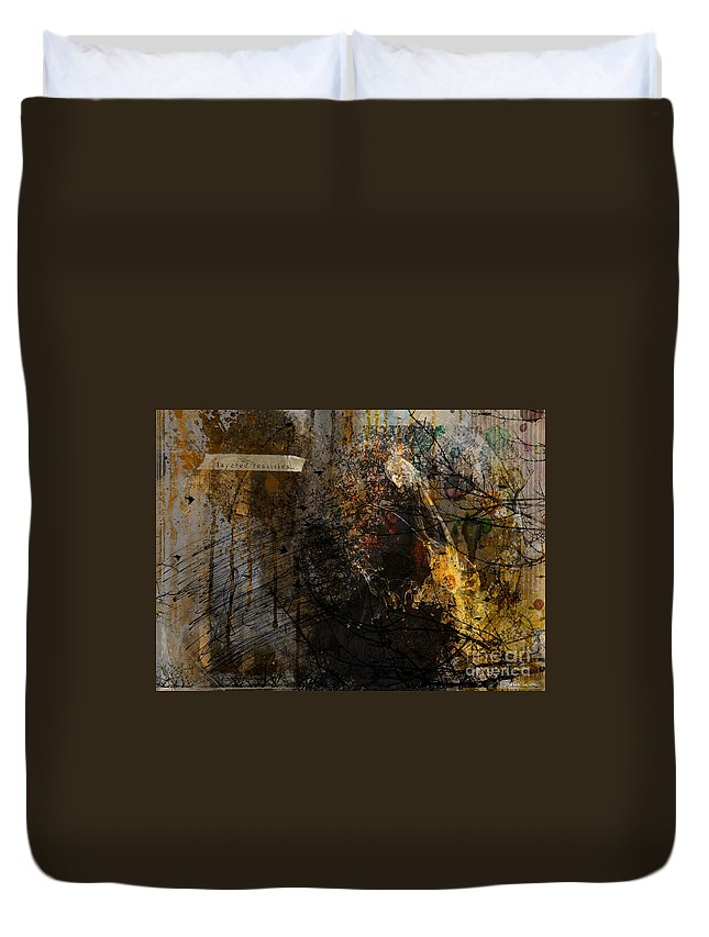 Abstract Painting Duvet Cover featuring the drawing Layered Realities Abstract Composition Painting Print by Svetlana Novikova