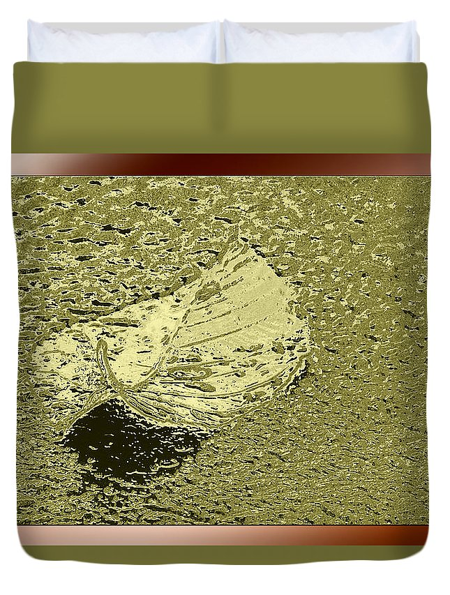 Leaf Duvet Cover featuring the photograph Leaf Mytallique by Marie Jamieson