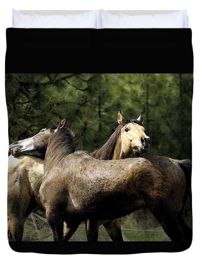 Horse Duvet Cover featuring the photograph Lean On Me by Steve McKinzie