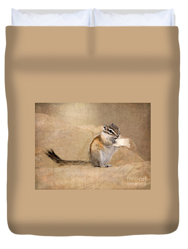 Chipmunk Duvet Cover featuring the photograph Least Chipmunk by Betty LaRue