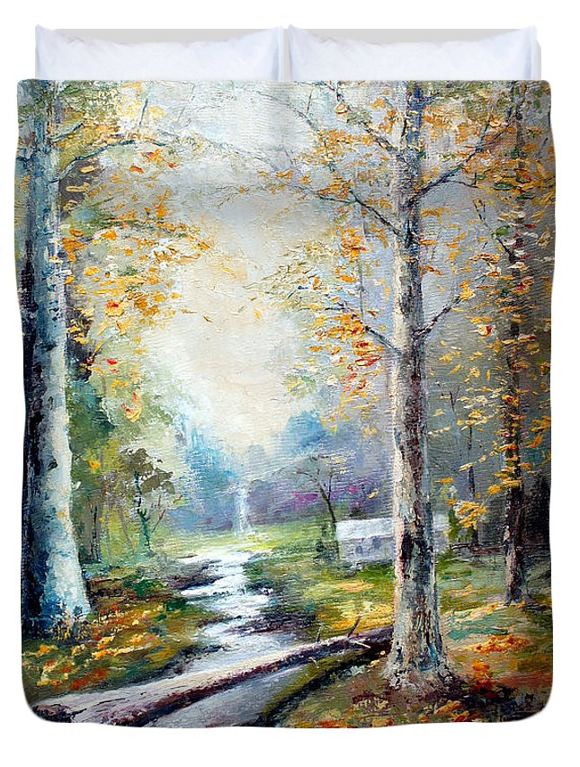 Australian Duvet Cover featuring the painting Leaving The Woodland Creek by Giro Tavitian
