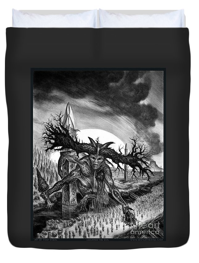 Salo Duvet Cover featuring the mixed media Leeching The Soil by Tony Koehl