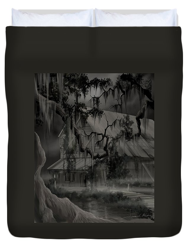 Old Woman Duvet Cover featuring the painting Legend of the Old House in the Swamp by James Christopher Hill