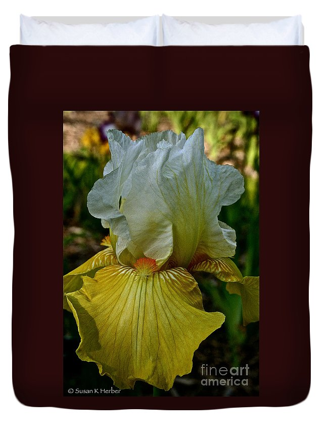 Plant Duvet Cover featuring the photograph Lemon Petals by Susan Herber