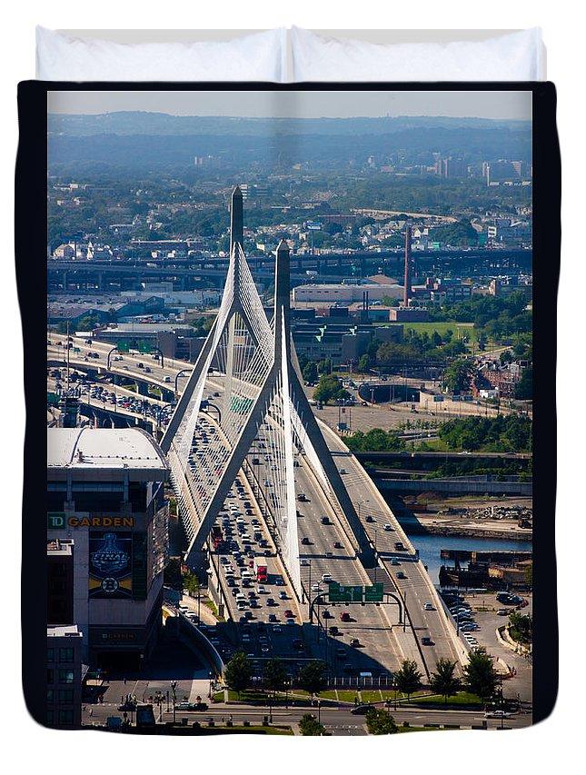 Aerial Duvet Cover featuring the photograph Leonard Yakim Bunker Hill Memorial Bridge by Thomas Marchessault