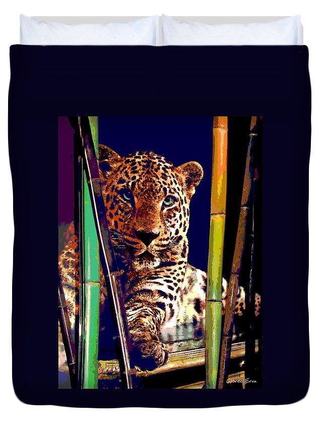 Cats Duvet Cover featuring the digital art Leopard by Gabriele Ervin