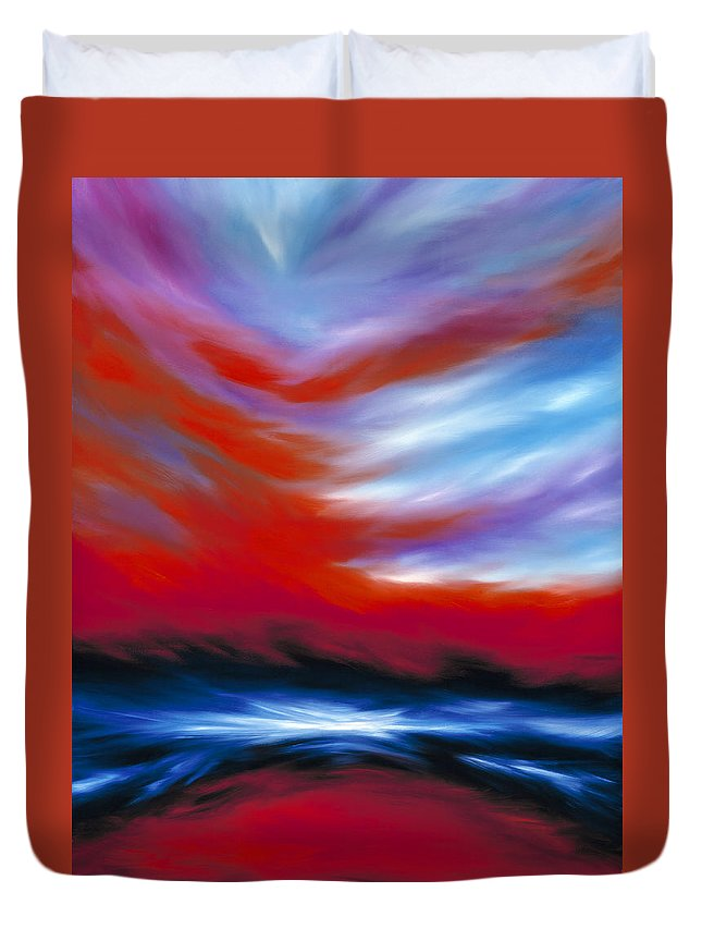 Sunrise; Sunset; Power; Glory; Cloudscape; Skyscape; Purple; Red; Blue; Stunning; Landscape; James C. Hill; James Christopher Hill; Jameshillgallery.com; Ocean; Lakes; Genesis; Creation; Sky Duvet Cover featuring the painting Let There Be Light by James Christopher Hill