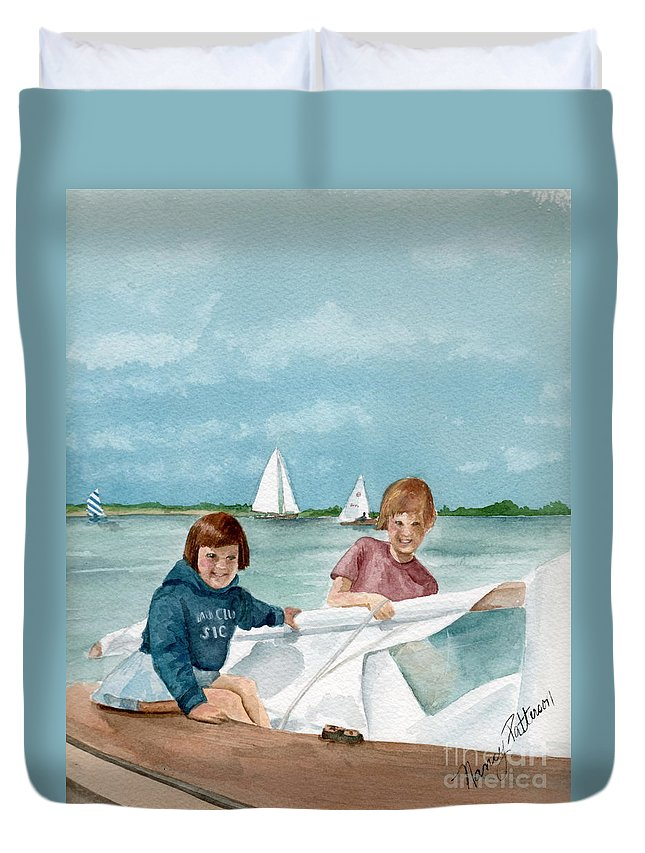 Sailing Duvet Cover featuring the painting Let's Go Sailing by Nancy Patterson