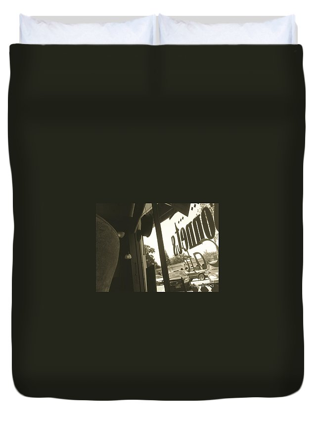 Cafe Duvet Cover featuring the photograph Letters From A Cafe by Trish Hale