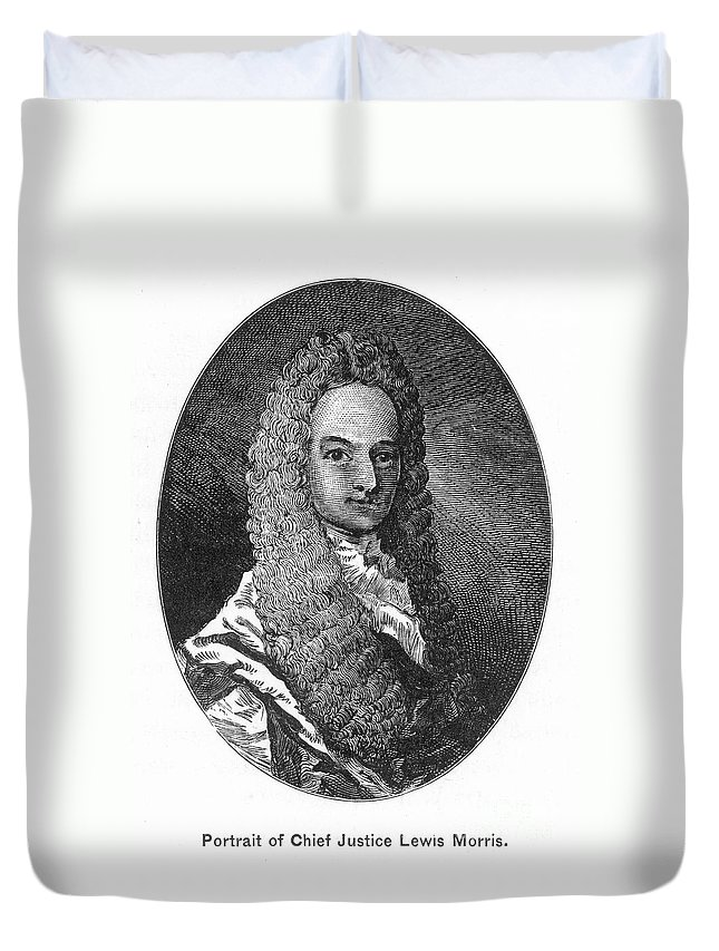 18th Century Duvet Cover featuring the photograph Lewis Morris (1671-1746) by Granger