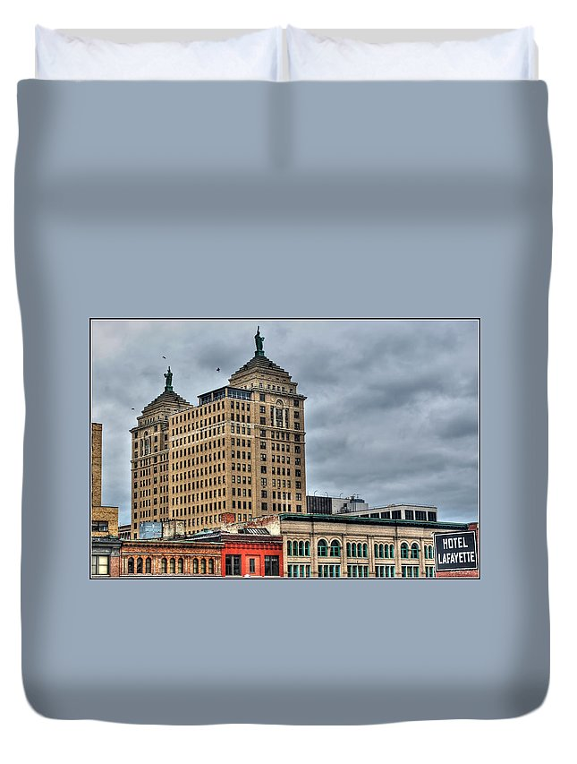 Duvet Cover featuring the photograph Liberty Building And Hotel Lafayette by Michael Frank Jr