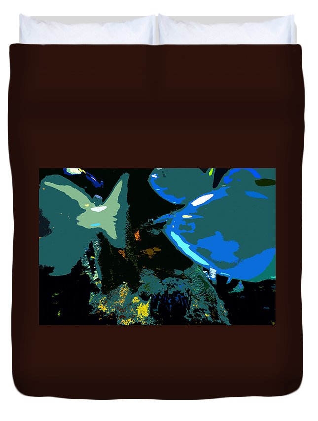 Art Duvet Cover featuring the painting Life In The Sea by David Lee Thompson