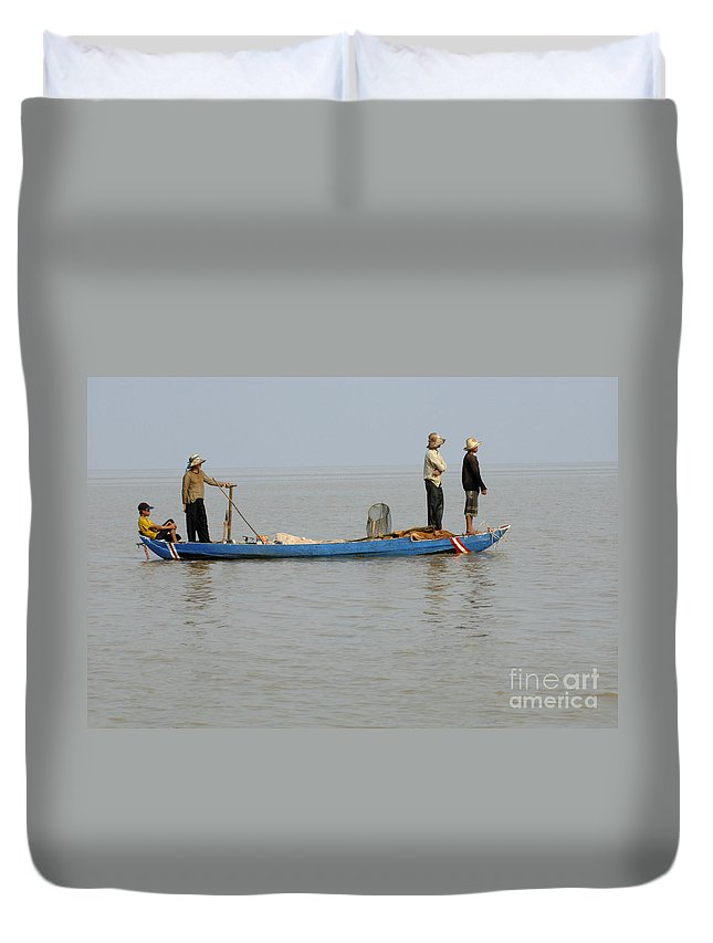 Travel Duvet Cover featuring the photograph Life On Lake Tonle Sap 5 by Bob Christopher