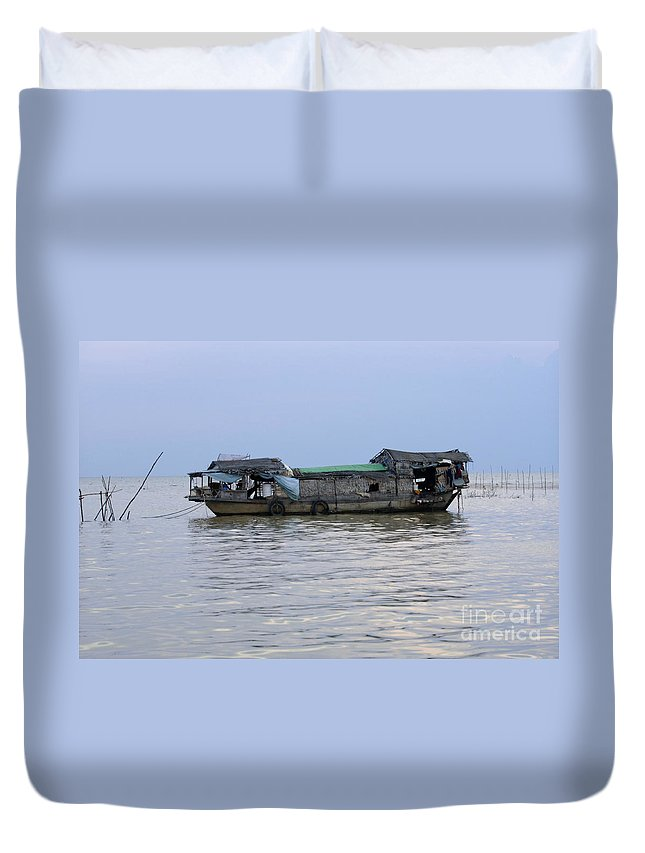 Travel Duvet Cover featuring the photograph Life On Lake Tonle Sap 6 by Bob Christopher