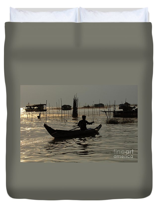 Travel Duvet Cover featuring the photograph Life On Lake Tonle Sap 7 by Bob Christopher