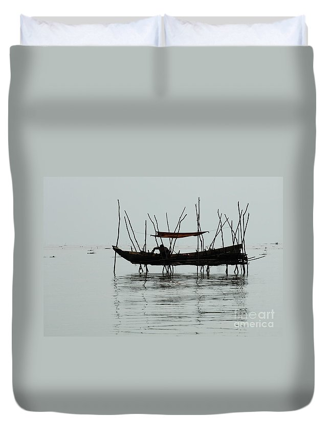 Travel Duvet Cover featuring the photograph Life On Lake Tonle Sap by Bob Christopher