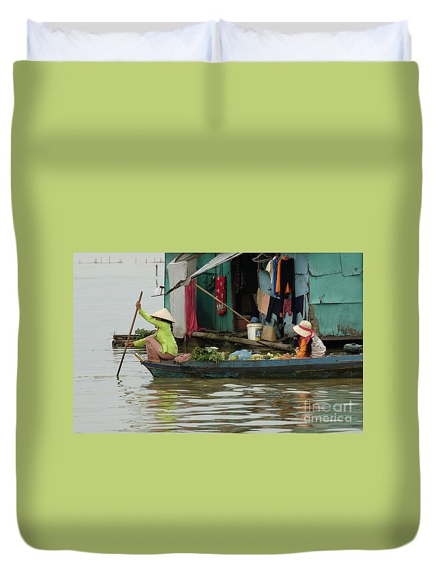 Travel Duvet Cover featuring the photograph Life On Lake Yonle Sap 9 by Bob Christopher