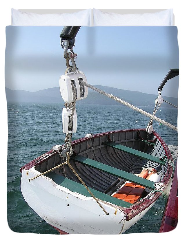 Lifeboat Duvet Cover featuring the photograph Lifeboat From The Schooner Margaret Todd by Sven Migot